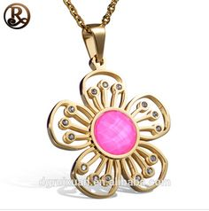 Stainless steel gold plated flower of life for women pendant