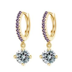 Exwking Fashion Crystal Earrings for Women with Zircon Multicolor Optional (Gold+Light Purple) -- Awesome products selected by Anna Churchill