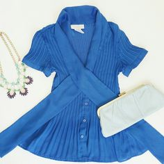 """Striking Blue Blouse This is a Beauty with ties in front. Pleated sheer Polyester so Cute and Classy. 20"""" form shoulder to bottom Worthington Tops Blouses"""