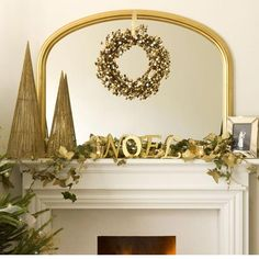 Gold and Green mantel