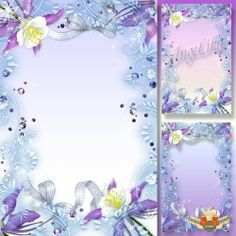 Free Photoshop Frames | Fantasy psd frame free for Photoshop with tender blue flowers