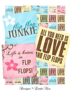 FLIP FLOP Summer on the Beach - Life is better in flip flops (.75 x .83 scrabble inch) Images Digital Collage Sheet Buy 2 Get 1 printable