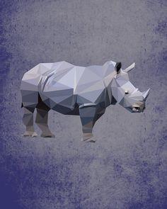 Rhino, Geometric, Poly, Polygon, Poster, Art, Illustration, Safari, Savana, Kid Nursery, Jungle, Shapes, Purple, Home Decor [NO 007] by IronBrothers17 on Etsy