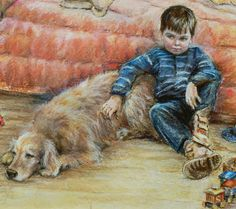 "Boy and dog Children ""I CAN TELL YOU ANYTHING"" by Laurie Shanholtzer archival print from original pastel painting reproduction.  via  Etsy."