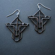 Geometric Arrow Earrings Art Deco Revival Cross by JamieSpinello