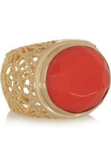 Isharya  Swirl 18-karat gold-plated glass ring