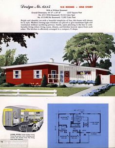 See 130 vintage house plans used to build millions of mid-century homes that we still live in today - Click Americana Contemporary House Plans, Modern House Plans, Modern Houses, House Floor Plans, Vintage House Plans, Vintage Homes, Mid Century Exterior, Home Design Floor Plans, Home Plans