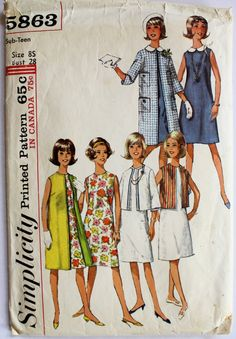Shift Dress Pattern Vintage 1960s Womens by PaperDollPatterns