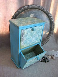 Shabby Turquoise Two-Drawer Mini Chest / Aqua by dewdropdaisies