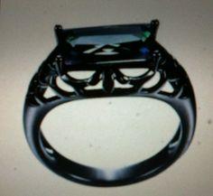 Men's Black Platinum plated Mystic Topaz rectangle Ring size 9. #SuoHuan #Solitaire