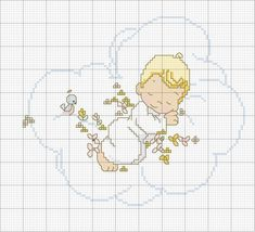 This is the cross stitch that I made for my darling girl Aimee when she was born Cross Stitch Angels, Cross Stitch For Kids, Cross Stitch Baby, Cross Stitch Charts, Cross Stitch Designs, Cross Stitch Patterns, Cross Stitching, Cross Stitch Embroidery, Baby Motiv