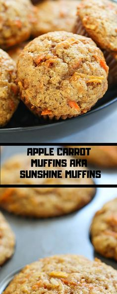 APPLE CARROT MUFFINS AKA SUNSHINE MUFFINS - Viral Food Recipes these Apple Carrot muffins (also called Sunshine cakes) are full of carrots, apples, coconut, cinnamon & nutmeg. your house will smell first rate after baking a batch of them! Healthy Muffin Recipes, Carrot Recipes, Healthy Muffins, Baby Food Recipes, Baking Recipes, Dessert Recipes, Apple Cinnamon Muffins, Carrot Cake Muffins, Pineapple Muffins