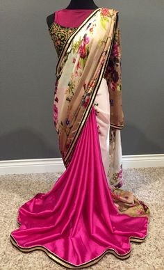 A Fashionkali exclusive design. Unique and glamorous in all ways.  Heavenly half half saree in floral satin print and plain hot pink satin pleats. It