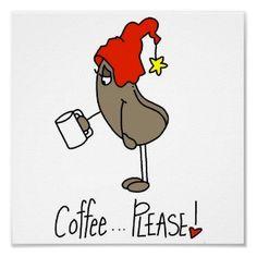 Lustiges Kaffee-Liebhaber-Strichmännchen-Plakat