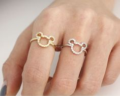 Cute Mickey Mouse Ring detailed with CZ in  gold / silver, R0315S by zizibejewelry on Etsy https://www.etsy.com/listing/215376850/cute-mickey-mouse-ring-detailed-with-cz