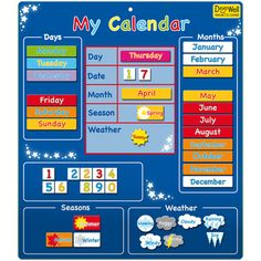 Buy Magnetic My Calendar - Blue from BrightMinds. Leading UK Online Educational Kids Gifts and Childrens Toy Shop for Magnetic My Calendar - Blue Toddler Calendar, Preschool Calendar, Classroom Calendar, Kids Calendar, Weather Calendar, Calendar Board, Magnetic Calendar, Circle Time Board, Kids Education