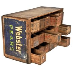 Handmade Cheese Box Chest This would be the best paint brush/pencil/art drawer system for my place! Old Wooden Boxes, Old Boxes, Decoration Palette, Crate Bookshelf, Vintage Storage, Wood Crates, Repurposed Furniture, Country Decor, Drawers