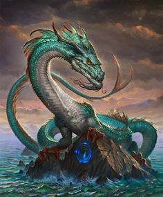 abra by firatsolhan on DeviantArt - This dragon has a very Celtic feel to it to me. Being a long, serpentine, water beast makes it somewhat traditional as well--though it is also fused with aspects of the Medieval dragon