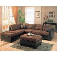 Wildon Home Bailey Microfiber Sectional Sofa with Chaise on Left