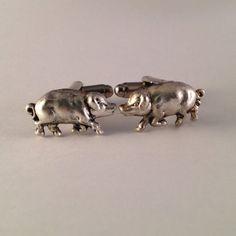 Men's New Pair of Silver Metal Pig Cufflinks / by Lynx2Cuffs, $17.99