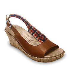 Crocs Women's A-Leigh Wedge Leather Sling Sandals :: Casual Sandals :: Shop now with FootSmart