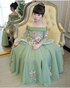 Luxurious off the shoulder half flare sleeve Princess Girl Dresses .**Rush order please contact us** Processing time business day after payment . Source by redvelvetrucker kids girl