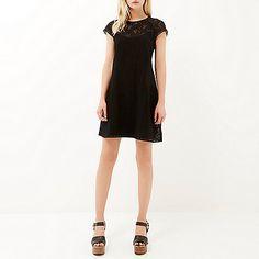 Black printed short sleeve swing dress - day / t-shirt dresses - dresses - women