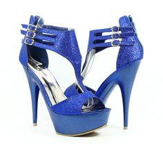 "Blue Sexy Blink Pump Prom Platforms Strappy Women 5.5"" Heels Sandal Shoes Sz 10"