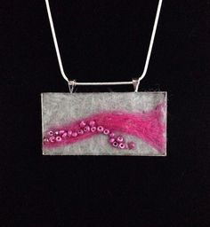 Hot pink ,felted necklace, wool jewelry, silver necklace, landscape felted art…