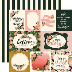 Carta Bella Paper - Flora No 1 Collection - 12 x 12 Double Sided Paper - Peony Posy Journaling Cards