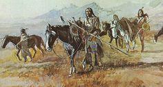 Charles M. Russell,  Western Art, Native American Print-- Indians Walking Horses