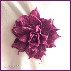 Brooch flower Violet Lily  large felted flower pin  by LanAArt