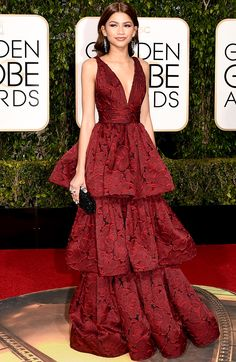"""Zendaya 2016 Golden Globes Marchesa One of my picks for """"best dressed"""" The whole look is young and fresh. She is showing just enough skin."""