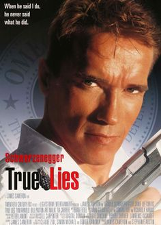 "Film: True Lies (1994) Year poster printed: 1994 Country: USA Exact Size: 26.75"" x 39.75"" ""When he said I do, he never said what he did."" This is an original, double-sided one-sheet movie poster from"