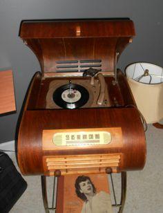 1940's radio / turntable tabletop hard wood UNIQUE. $425