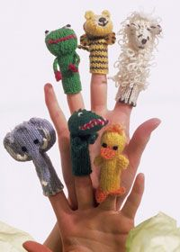 knitted animal finger puppets