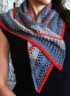 Knitting Pattern for Easy South Beach Scarf - Easy neckerchief openwork scarf can be also be worn as a cowl or shawlette. Designed by Christine Marie Chen. Pictured project by JULIECLAUDE. Sport weight yarn. Rated easy by Ravelrers and the designer.