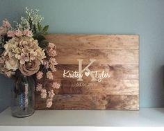 Rustic Wedding Guest Book Alternative /Original Heart & Initial Design/ Rustic Wedding Decor Wood Guest Book Sign In Country Wedding