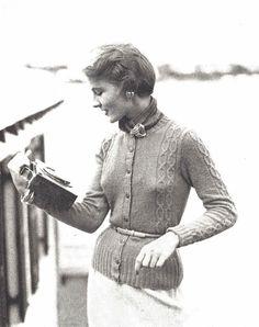 Emiline Cardigan • 1950s Knitting Button Jacket Sweater • 50s Vintage Vogue Pattern • 1954 Retro Women's Knit Digital PDF by TheStarShop on Etsy