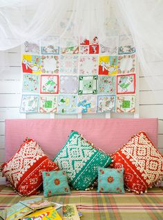 Love the colors. Love the idea of a vintage handkerchief quilt as well.