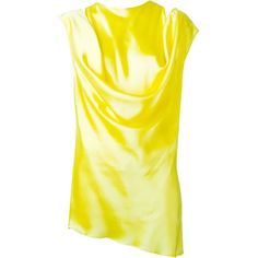 Ann Demeulemeester draped sleeveless blouse ($885) ❤ liked on Polyvore featuring tops, blouses, yellow silk top, sleeveless tops, sleeveless blouse, yellow top and sleeveless drapey top