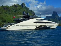 The super sleek Palmer Johnson superyacht Vantage in Tahiti with her tender by her side. Photo by Rudolphe Holler by superyachttimes Mykonos Island, Mykonos Greece, Palmer Johnson Yachts, Mykonos Villas, Yacht Boat, Tahiti, Luxury Yachts, Vehicles, Car