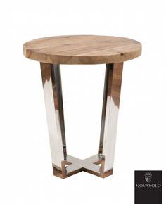 Tøft Avignon sidebord produsert i kombinasjon av et moderne understell i pusset rustfri stål og en røff og rustikk bordplate av resirkulert furu!