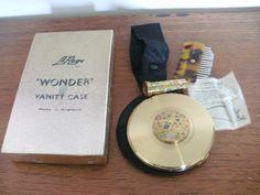 Rare boxed vintage  Le Rage compact, lipstick ,perfume &rouge case &brush/comb