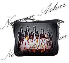 """Asking Alexandria 14"""" Messenger Bag Shoulder School Laptop NoteBook Backpack 05"""