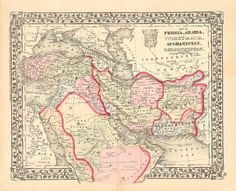 Afghanistan Persia Arabia 1874 map by JohnRBarrows on Etsy, $29.95  www.galeyrie.com/?s=Afghanistan