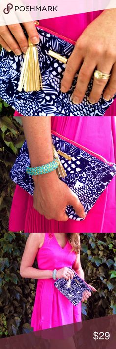 Lilly Target Upstream Blue Gold Tassel Clutch NWT! ❌Trades Lilly Pulitzer Bags Clutches & Wristlets