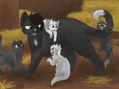 Ravenpaw and the kits by CascadingSerenity on DeviantArt