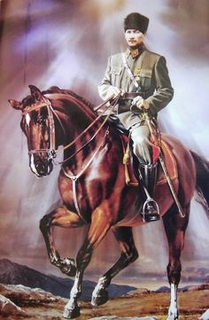 ATATÜRK on his beautiful horse.. He is beyond centuries in every aspects..