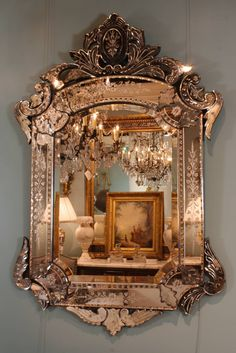 Ornate Venetian Rococo Mirror   From a unique collection of antique and modern wall mirrors at https://www.1stdibs.com/furniture/mirrors/wall-mirrors/